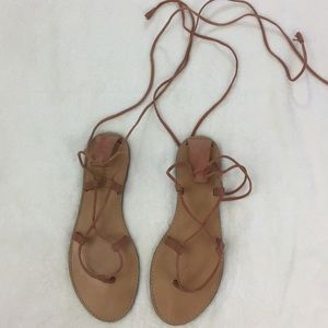Madewell The Boardwalk Suede Lace Up Wrap Sandals
